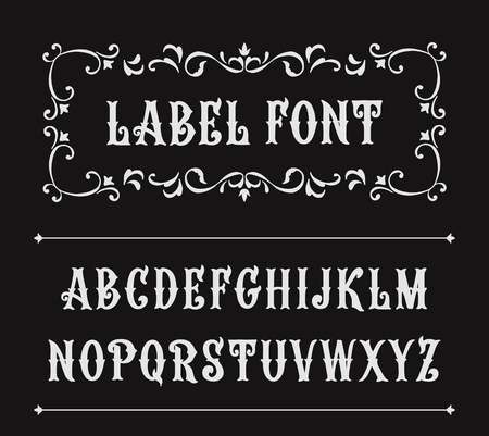 Hand drawn label font for design in vintage style. Vector typeface for labels and any type designs