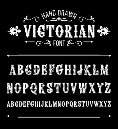 Hand drawn letters. Vector alphabet in Victorian style Иллюстрация