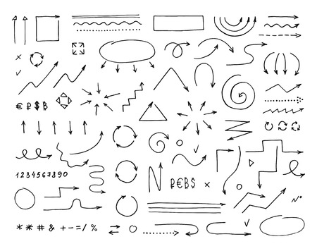 Handcrafted elements. Hand drawn vector arrows set on  white background Ilustração