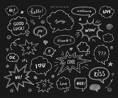 Hand drawn set of speech bubbles with dialog words: Hi, Love, Sorry, Welcome. White print on black background Illustration