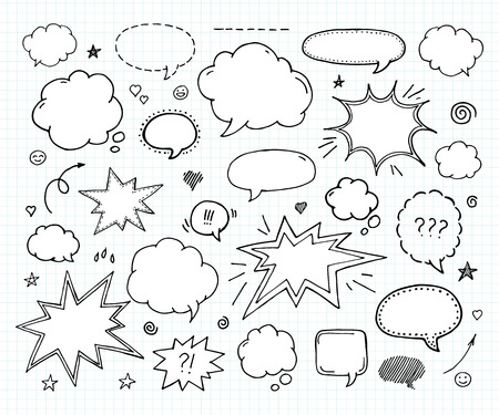 Hand drawn set of speech bubbles and arrows Ilustração