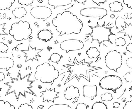 Seamless pattern. Hand drawn set of speech bubbles Ilustração