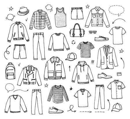 Hand drawn Mens Clothing. Vector illustration on white background. Doodle set