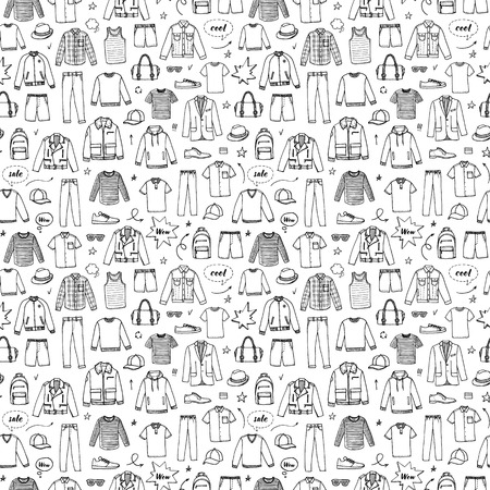 Hand drawn seamless pattern. Mens Clothing and accessories.