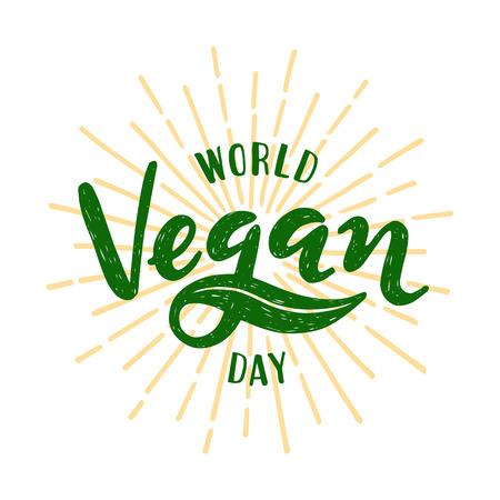 World vegan day Lettering. Vector illustration on white background Illustration