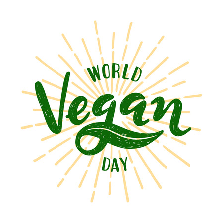 World vegan day Lettering. Vector illustration on white background Ilustração