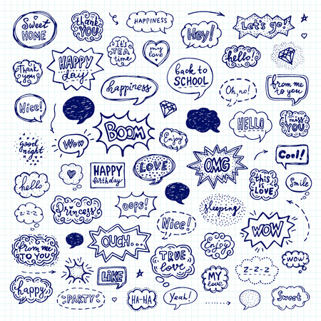Hand drawn set of speech bubbles. Vector illustration over squared notebook sheet