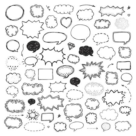 Hand drawn set of speech bubbles on white background Illustration