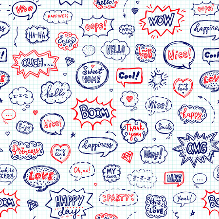 Seamless pattern in school style. Hand drawn set of speech bubbles with words. Vector illustration over squared notebook sheet Ilustração