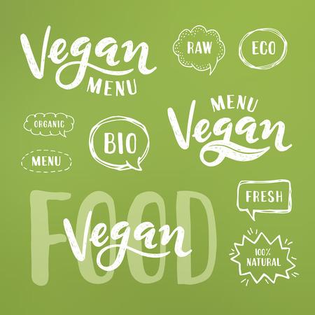 Vegan menu Lettering. Modern Hand Drawn Ecological Food Badges for restaurant menu or food package design.