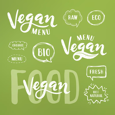 Vegan menu Lettering. Modern Hand Drawn Ecological Food Badges for restaurant menu or food package design.