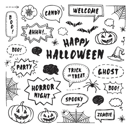 Happy Halloween design elements. Hand Drawn set Illustration