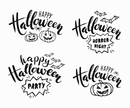 Happy Halloween lettering. Holiday calligraphy for banner, poster, greeting card, party invitation. Vector illustration on white background