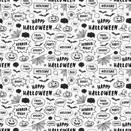 Happy Halloween. Hand Drawn seamless pattern for wrapping paper Ilustração