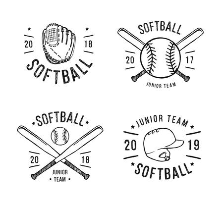 Hand Drawn Emblem of softball, Graphic design for t-shirt and stickers.