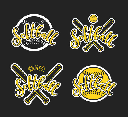 Emblem of softball, Graphic design for t-shirt and stickers. Stock Illustratie