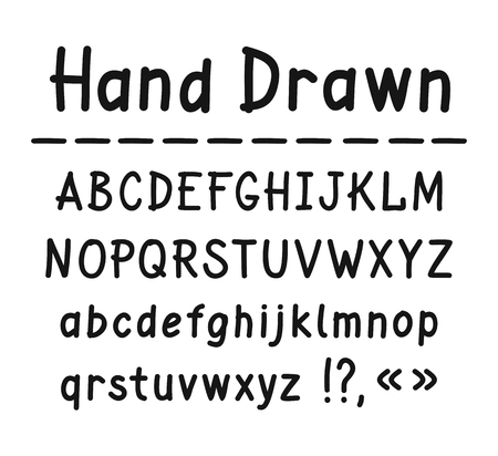 Hand drawn  Uppercase and lowercase letters. Vector illustration on white background