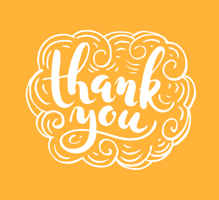 Thank you lettering for greeting card Illustration