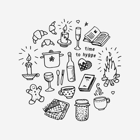 Time to Hygge. Hand drawn icons set. Vector illustration on white background