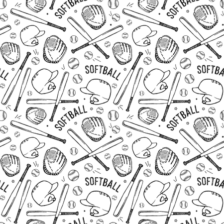 소프트볼 장비의 이미지와 원활한 패턴입니다. 흰색 배경에 검은 패턴