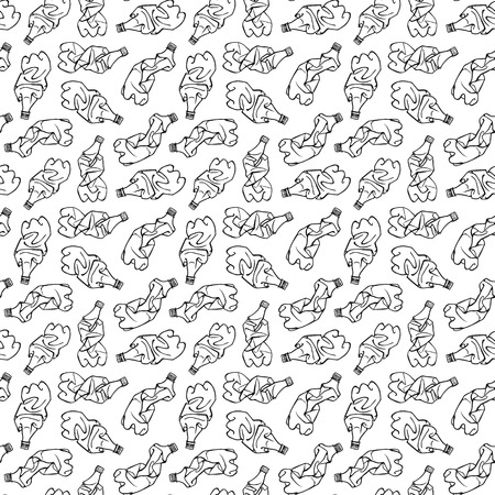 Seamless pattern of recyclable materials. Hand drawn illustration of plastic trash. Black print on white background. Ilustração