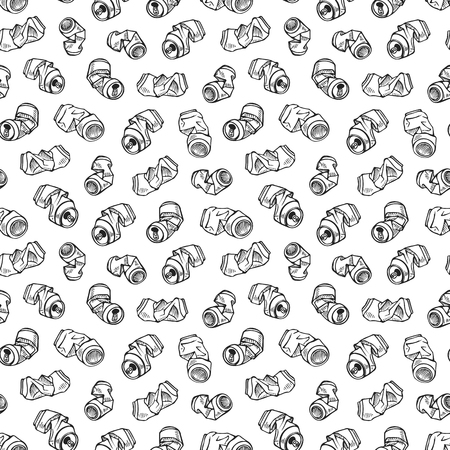 Seamless pattern of recyclable materials. Hand drawn illustration of crumpled aluminum cans. Black print on white background.