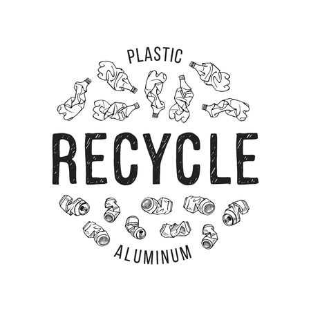 Hand drawn illustration of recyclable materials. Plastic and aluminum trash
