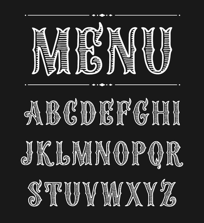 Hand drawn label font for design in vintage style. Vector typeface for labels and any type designs. Lettering for bar menu. Victorian style.