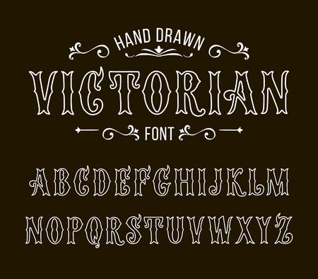 Set of Victorian style alphabet letters. Vector font type design.