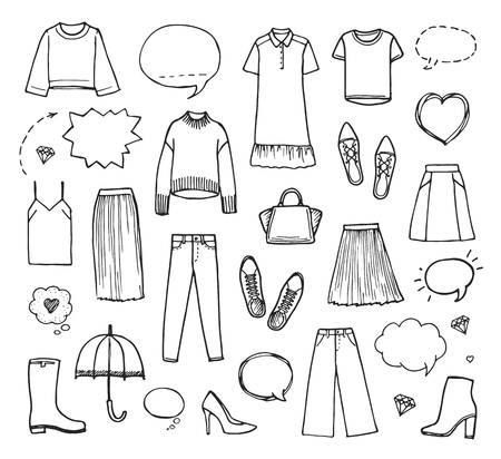 Vector illustration of hand drawn fashion collection with womens clothing on white background.