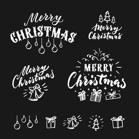 Merry Christmas  lettering. Vector design element for congratulation cards, banners and flyers