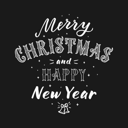 Merry Christmas and happy New Year lettering. Creative typography for holiday greeting gift poster.