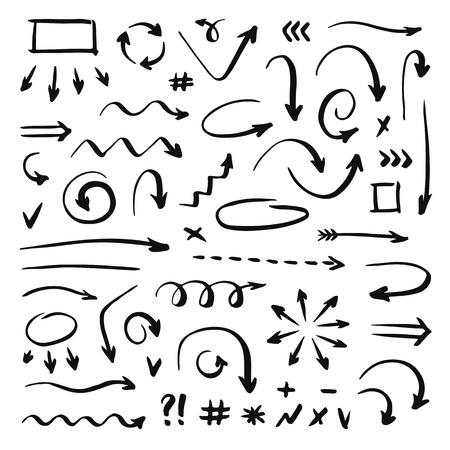 Hand drawn arrows set Ilustração