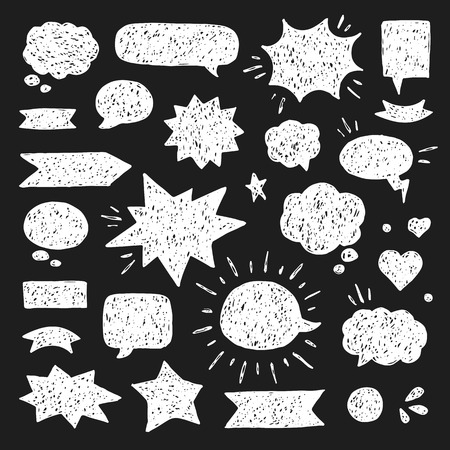 Hand drawn set of speech bubbles. White print on black background