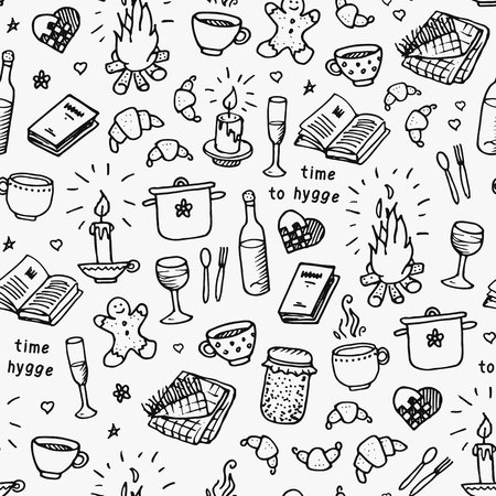 Hand drawn seamless pattern. Time to Hygiene. Vector illustration on white background Ilustração