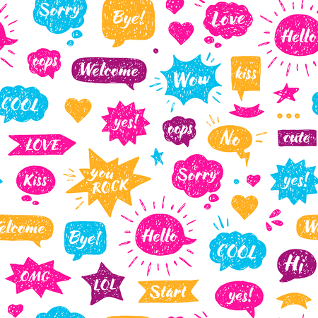 Speech bubbles with isolated dialog words Hello, Hi, Sorry, Welcome, Bye, No, Yes. Illustration