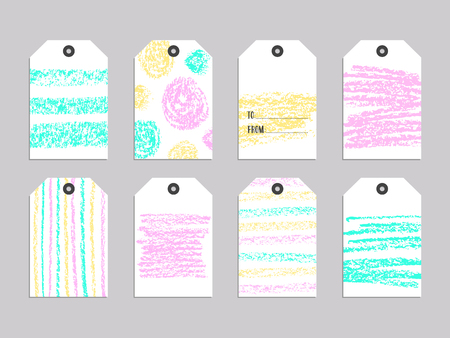 Collection of cute gift tags. Universal  set of 8 holiday label Illustration