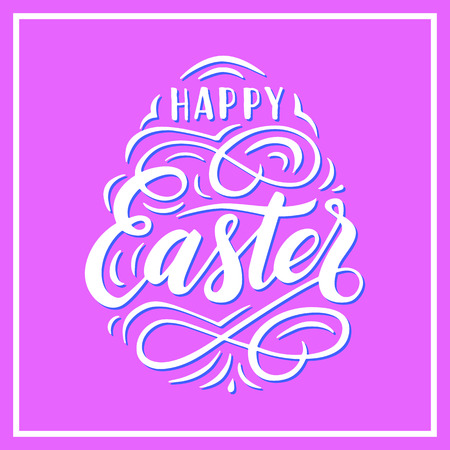 Happy Easter lettering for greeting card. Vector illustration. Punchy pastels colors