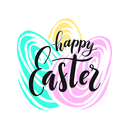Happy Easter lettering. Vector illustration for greeting card