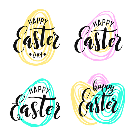 Happy Easter. Lettering on Hand drawn background. Vector illustration for greeting card