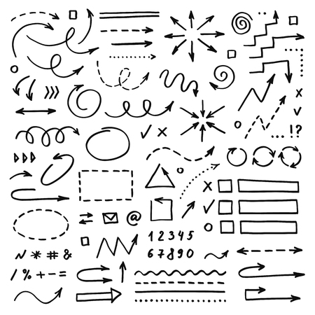 Hand drawn vector arrows set on white background. Doodle infographic design elements Ilustração
