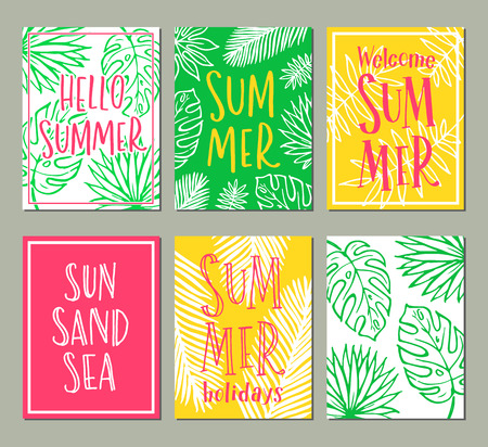 A Vector set of bright summer cards. Posters with tropical leaves and handwritten text. Illustration