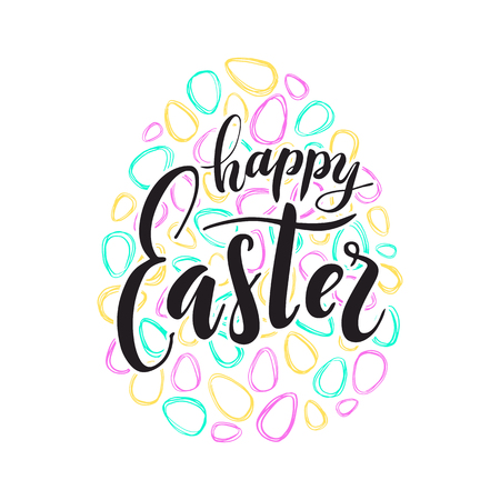 Happy Easter text lettering. Colored doodle paschal eggs on white background. Vector illustration for greeting card