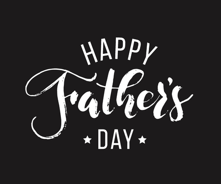 Happy Fathers Day. Hand drawn lettering for greeting card on black background. Greeting dad
