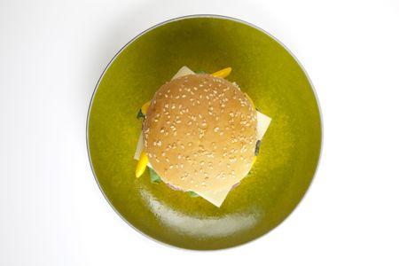 Heerlijk sappige hamburgery goedheid met sla, tomaten, kaas en ketchup