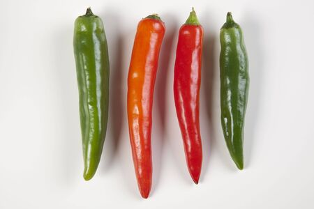 Chili peppers isolated on a white background  Stock Photo