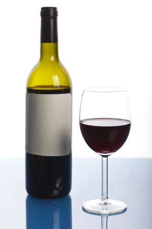 Bottle and wineglass with alcohol