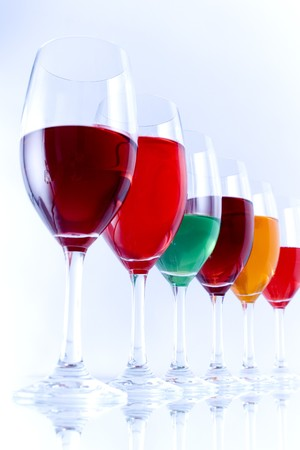 substrate: Colored glasses arranged on a glass substrate Stock Photo