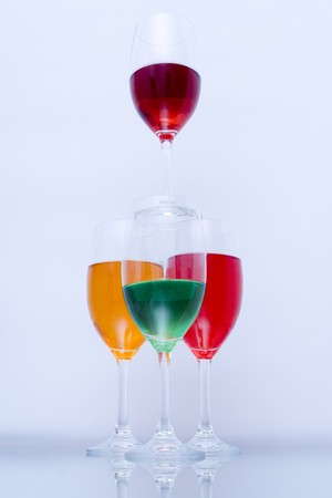 Colored glasses arranged on a glass substrate photo