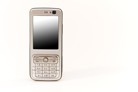 silver mobile phone isolated on white  photo